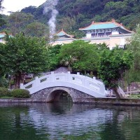 A view of the National Palace Museum in Taiwan from on of the surrounding gardens.