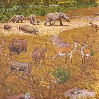 Restoration of Pliocene fauna of North America, on a mural made for the Smithsonian