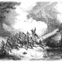Engraving depicting the attack on Metacomet's fort in King Philip's War.