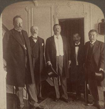 Working for Peace - President Roosevelt and the envoys of Mikado and Czar on the Mayflower.