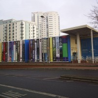 The temporary building used by Cardiff Central Library between September 2006 and February 2009 while the present building was under construction