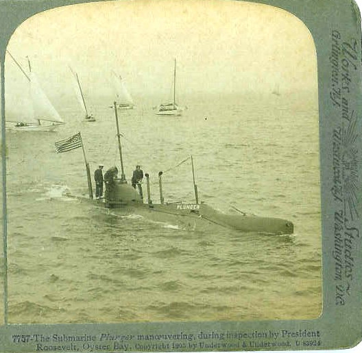 Theodore Roosevelt Looking in Submarine 1905