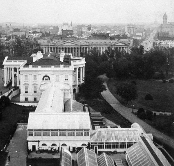 The conservatories, circa 1900, before Theodore Roosevelt built the West Wing in 1902