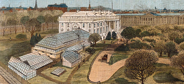 Hand-tinted etching of the conservatories in 1885