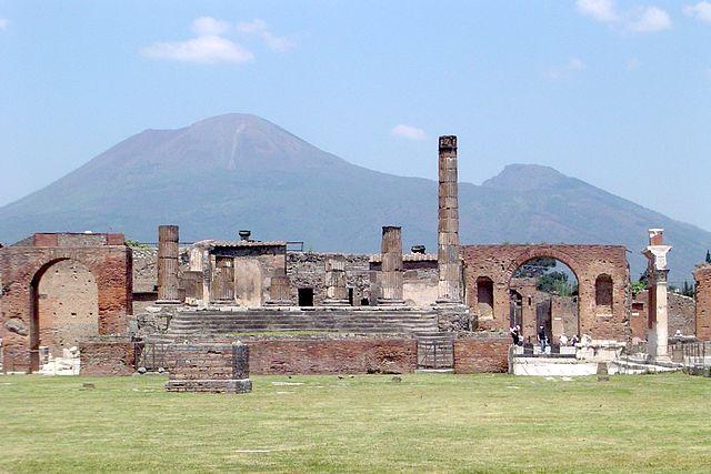 Pompeii, with Vesuvius towering above