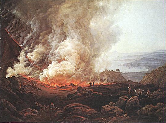 Vesuvius erupting. Painting by Norwegian painter J.C. Dahl, 1826