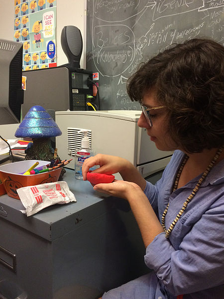A librarian demonstrates Maker Space