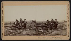 """Original stereograph Three """"Johnnie Reb"""" Prisoners, captured at Gettysburg, 1863"""