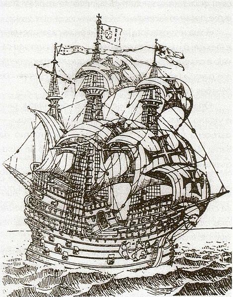 Carrack Sailing Ship – Small Left