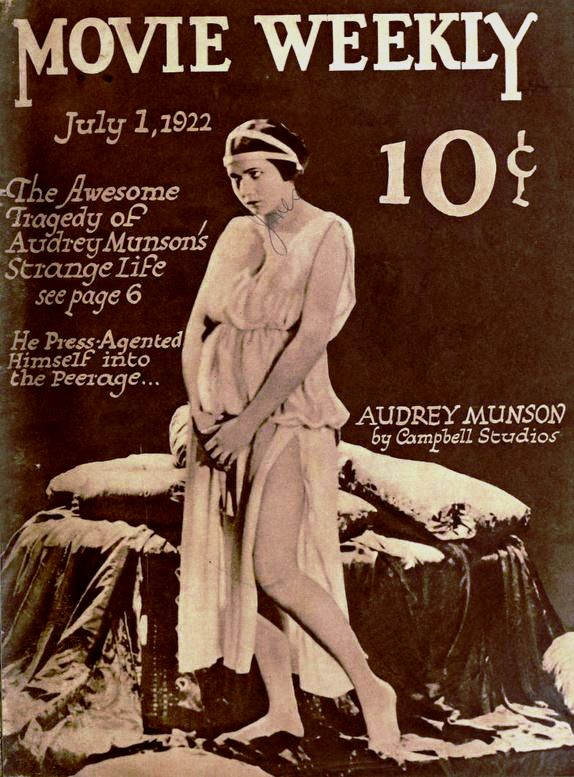 Actress and model Audrey Munson on the cover of the July 1, 1922 Movie Weekly, from a still from the American film Heedless Moths