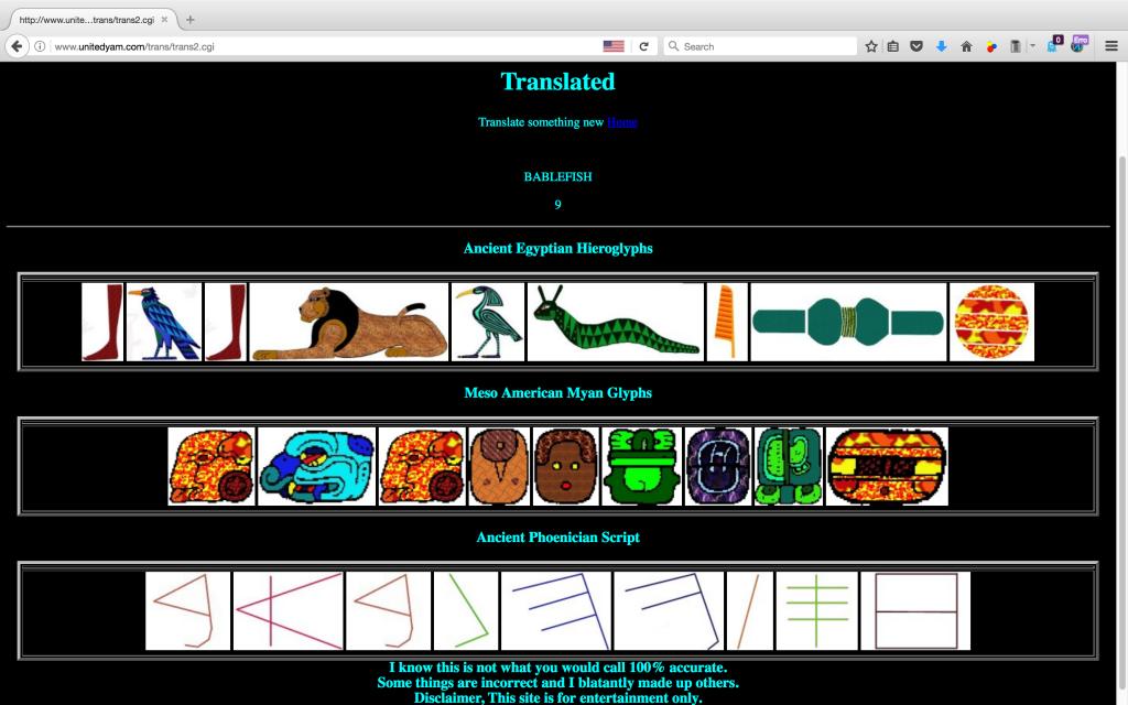 Translate into Egyptian Hieroglyphics